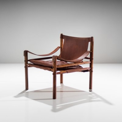 Arne Norell Sirocco Safari Chair in Brown Leather, Sweden 1964