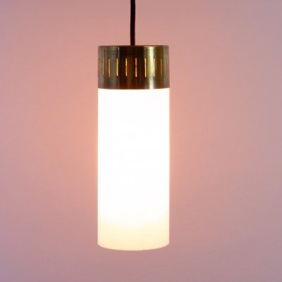 Brass & Opaque Glass Pendant Lights, Italy 1940s