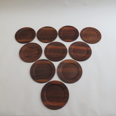 Set of 10 vintage Danish Rosewood Server Plates by Skaremoelle Fredensborg