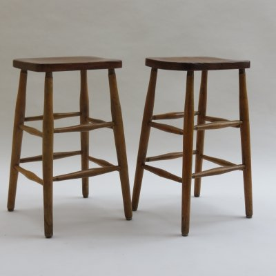Pair of 1950s Elm & beech Work stools