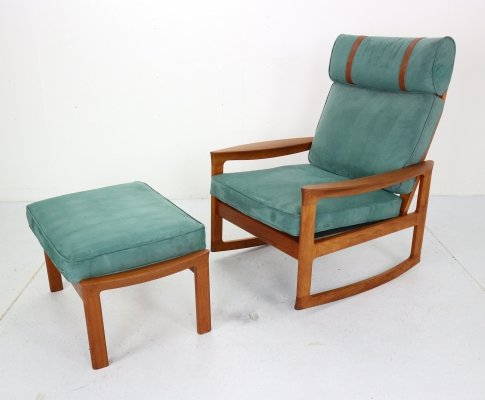 Rocking Chair & Footstool in Blue Velvet by Ole Wanscher for Komfort, 1960s