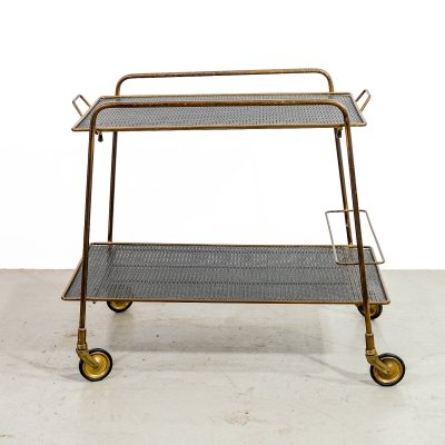 Trolley in brass & black perforated sheet, 1950s