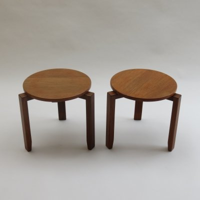 Pair of 1960s Nest of Stacking Tables in Afrormosia & Teak