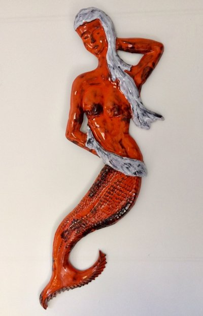 Belgian Studio Pottery color glazed Mermaid Sculpture, 1960's