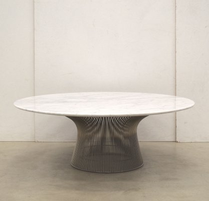 Rare Warren Platner Carrara Marble Coffee Table for Knoll, 1980s