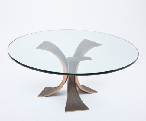 Vintage brutalist coffee table made of bronze & glass