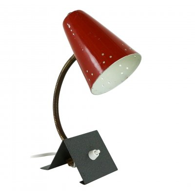 Office or bedside light with a deep red perforated shade, 1960s