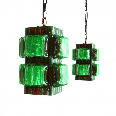 Rare set of Hillebrand pendant lights in green acrylic, 1960s