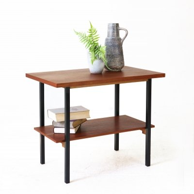 Mid-Century Modern Teak And Steel Side Table, 1960s