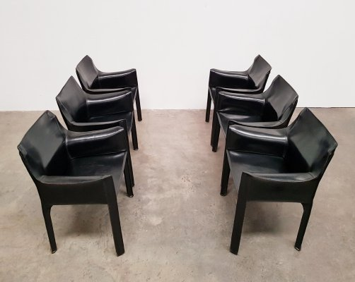 Set of 6 black Cassina CAB 413 chairs by Mario Bellini, 1980s