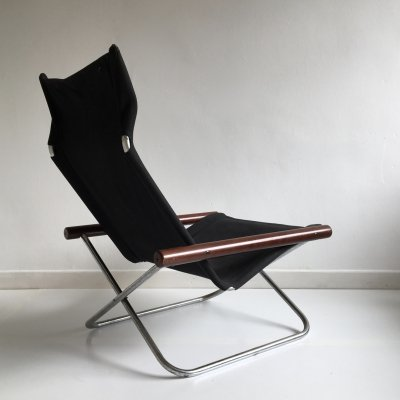 Mid Century Folding Black Canvas 'NY' Chair by Takeshi Nii, Japan 1958