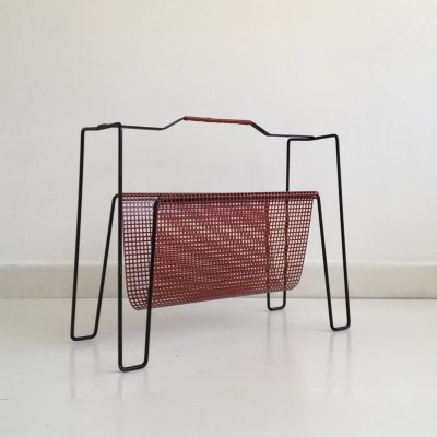 Red Metal Magazine Rack by Tjerk Reijenga for Pilastro, Holland c.1950