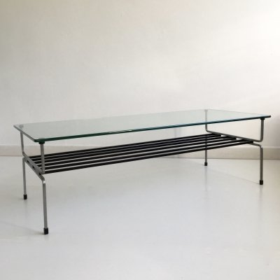 Mid Century Glass & Steel Coffee Table by William Plunkett, England c.1960