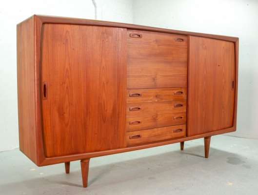 Large High Quality Scandinavian Design Teak Wooden Highboard by HP Hansen, 1960s