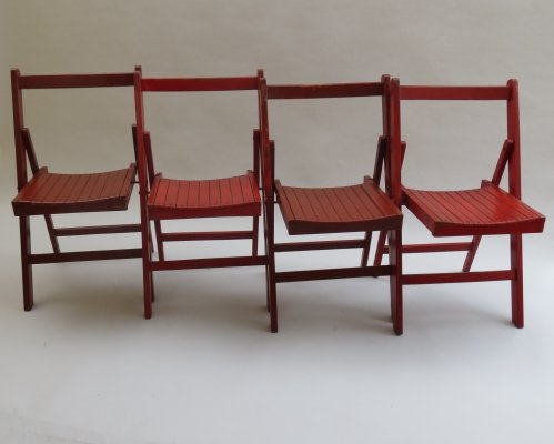 Set of 4 Red Folding Dining Chairs, 1940s