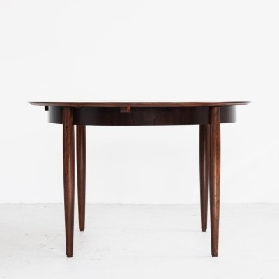 Midcentury extendable round dining table in rosewood by Lübke, 1960s
