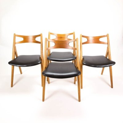 Set of 4 CH29 Sawbuck Dining Chairs by Hans Wegner for Carl Hansen & Søn
