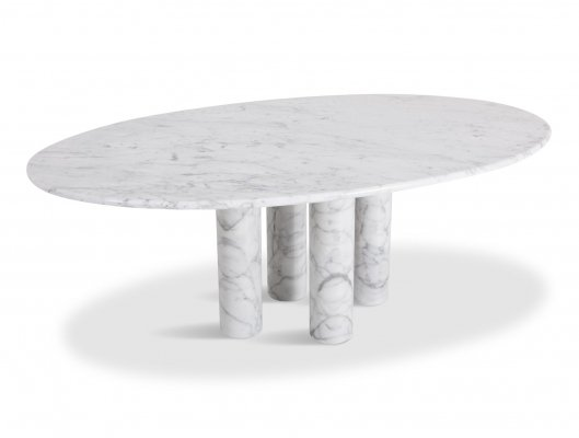 Mario Bellini Il Colonnata Oval Dining Table in Carrara Marble for Cassina, 1970