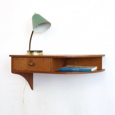 Danish wall mounted bedside table, 1960's
