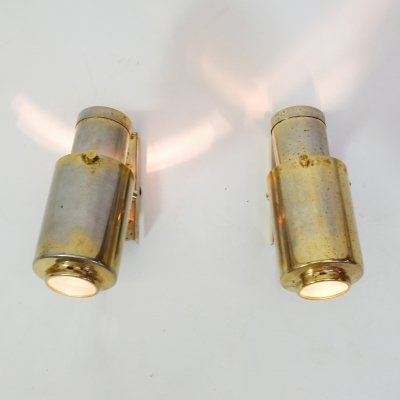 Pair of little golden wall mounted lamps, 1960s-1970s