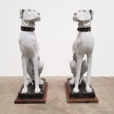 Italian White Painted Ceramic dog Sculptures, early 1900