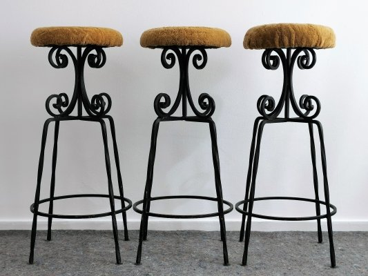 Wrought Iron Bar Stools with Sheep Skin Seat, 1960's