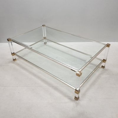 Vintage 2-tiers lucite & gilt coffee table by Pierre Vandel