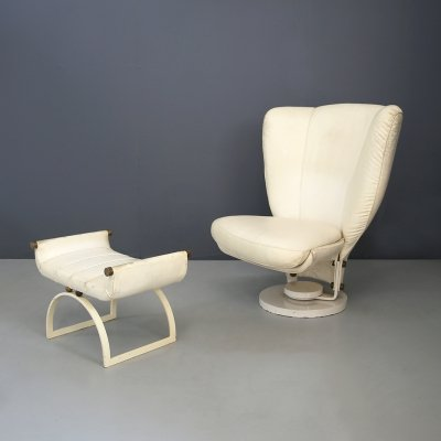 Swivel chair by Marzio Cecchi with Pouf in Brass & White Leather, 1970s