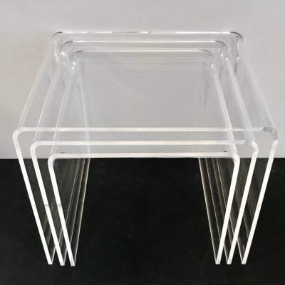 3 Plexiglass Nesting Tables, 1970s