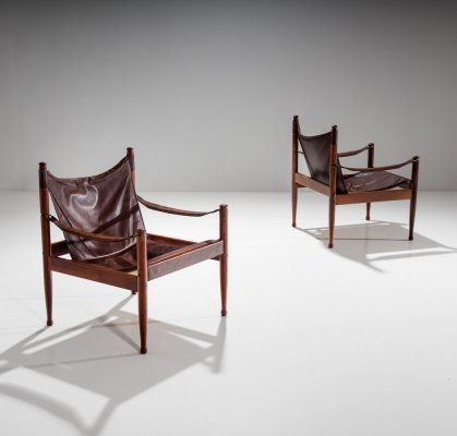 Pair of Erik Wørts Safari Chairs in Dark Brown Leather, Denmark 1960s