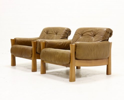 Set of 2 Mid Century Armchairs in Leather, 1960s