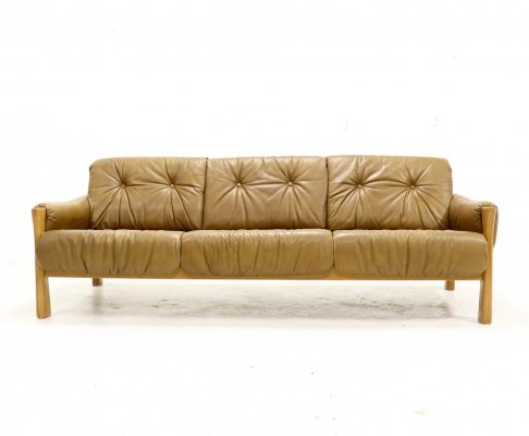 Mid Century Sofa in Tufted Leather & Wood, 1960s