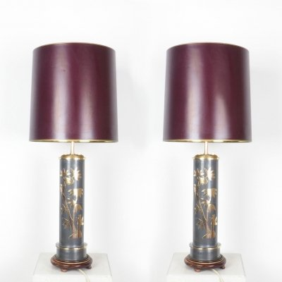 Set of 2 Chinese vintage table lamps with bamboo decor
