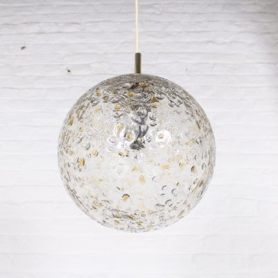 Textured glass hanging lamp, 1970s