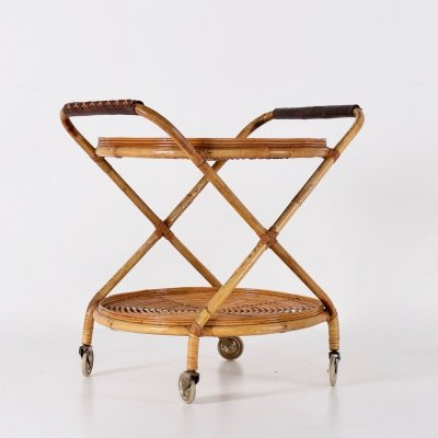Bamboo & leather serving trolley