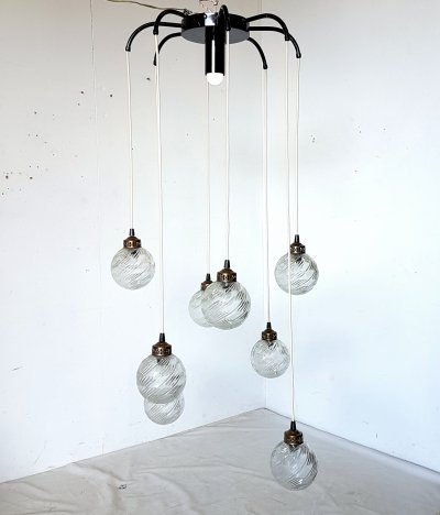 8 glass globe cascading pendant lamp with central light, 1960s