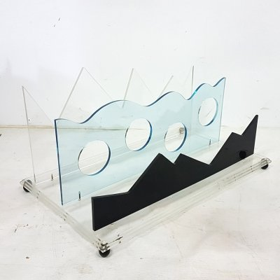 Memphis style acrylic glass wine display rack, 1980s