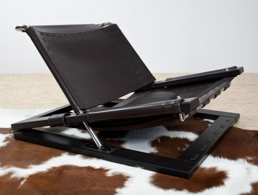 Brutalist lounge chair in brown leather by Sonja Wasseur, 1970