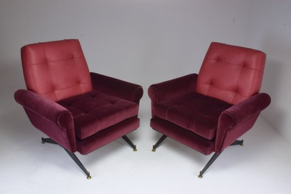 Pair of Italian Vintage Mid-Century Velvet Leather Armchairs, 1950's