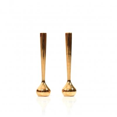 Pair of gilded Single Rose Vases by Hugo Asmussen, Denmark