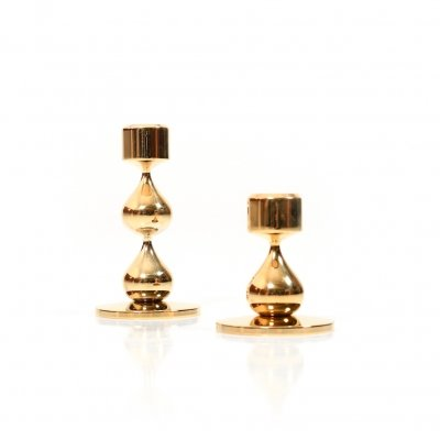 Pair of '24 Carat' gilded Candleholders by Hugo Asmussen, Denmark