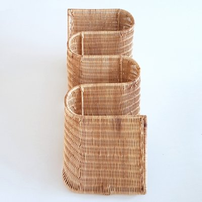 Wall mounted rattan magazine rack