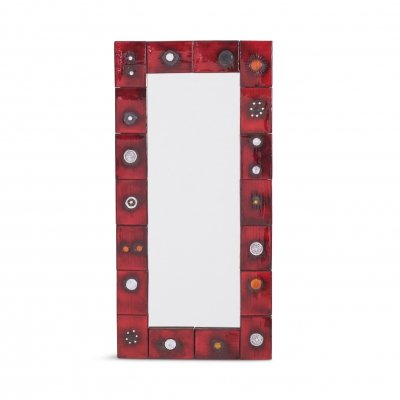 Ceramic Tile Mirror by Oswald Tieberghien in Red Glaze, 1960s