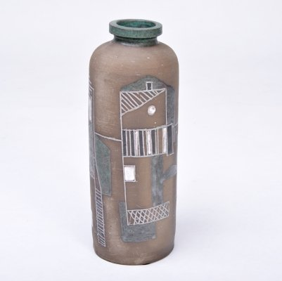 Mid-Century Modern stoneware vase with graphic decor