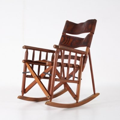Folding leather rocking chair, 1970s