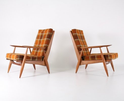 Pair of Oak Armchairs by Marvelus, France 1950's