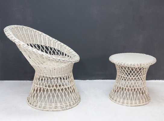 Rattan chair with matching table