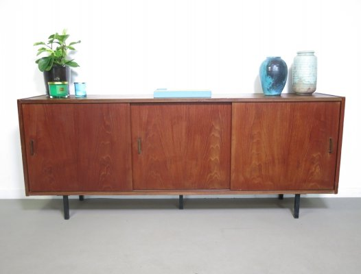 Small teak sideboard with 3 sliding doors, 1960s
