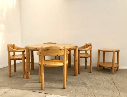 Dining set (7 chairs with table) by Rainer Daumiller for Hirtshals Sawmill, 1970s