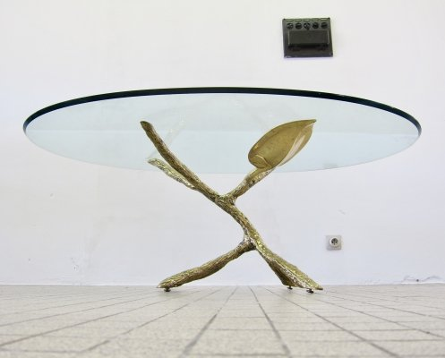 Hollywood regency gilded bronze tree coffee table, 1980s
